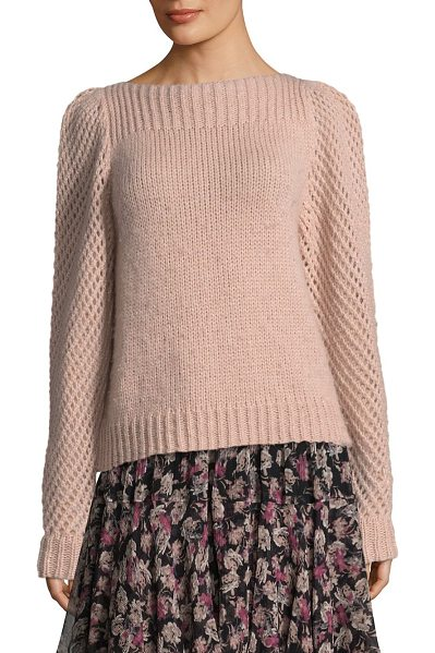 LOVESHACKFANCY rosie knitted pullover - Knitted pullover featuring perforated sleeves. Boatneck....