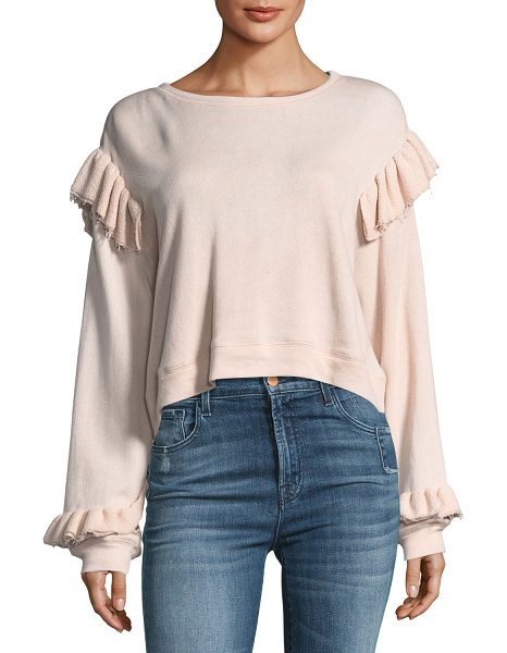 LoveShackFancy Round-Neck Long-Sleeve Sweatshirt w/ Ruffled Trim in pink - LoveShackFancy sweatshirt. Round neckline. Long sleeves;...