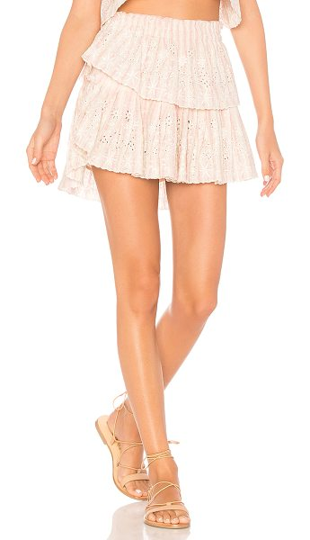 "LoveShackFancy Ruffle Mini Skirt in pink - ""Cotton blend. Hand wash cold. Fully lined. Elasticized..."