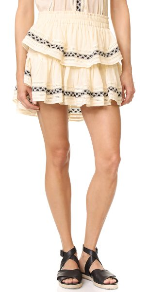 LoveShackFancy ruffle miniskirt in cream - Tiered ruffles lend a flirty feel to this casual...