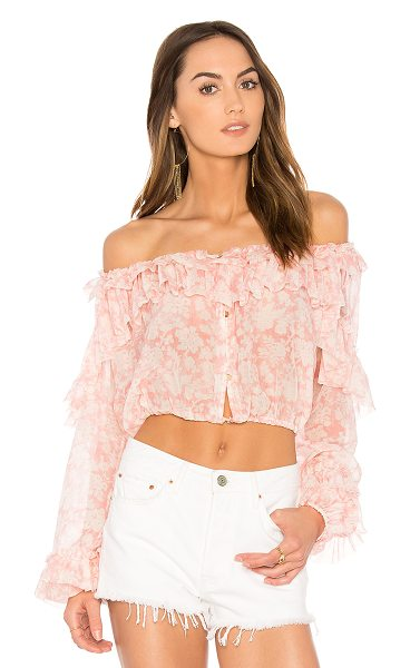 LoveShackFancy Ruffle Popover Top in pink - Cotton blend. Hand wash cold. Button front closures....