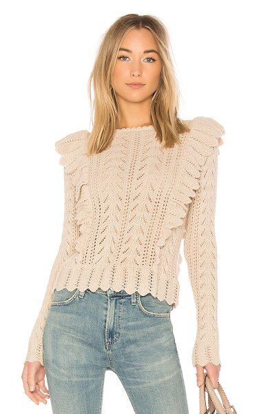LoveShackFancy Ruffle Pullover Sweater in beige - 100% baby alpaca. Dry clean only. Knit fabric. Ruffle...