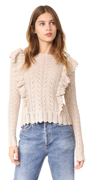 LoveShackFancy ruffle pullover in oatmeal - This patterned, pointelle knit LOVESHACKFANCY sweater...