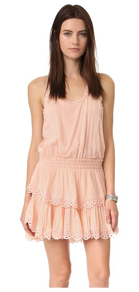 LoveShackFancy Ruffle racer mini dress in petal pink - Eyelet embroidery accents the flared, tiered skirt of...