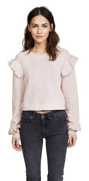 LoveShackFancy ruffle sweatshirt in dusty rose - Fabric: Knit Ruffle trim Swim cover-up top Pullover...