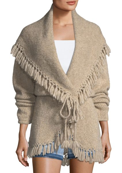 LoveShackFancy Tassel Cable-Knit Shawl Sweater in beige - LoveShackFancy cable-knit sweater. Wide, shawl collar....