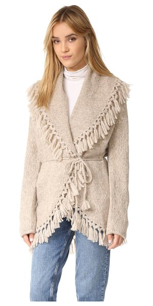 LoveShackFancy tassel shawl in oatmeal - Tasseled fringe traces the edges of this soft,...