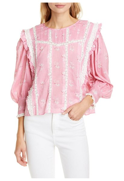 LoveShackFancy taz reversible floral lace inset cotton & silk blouse in pink