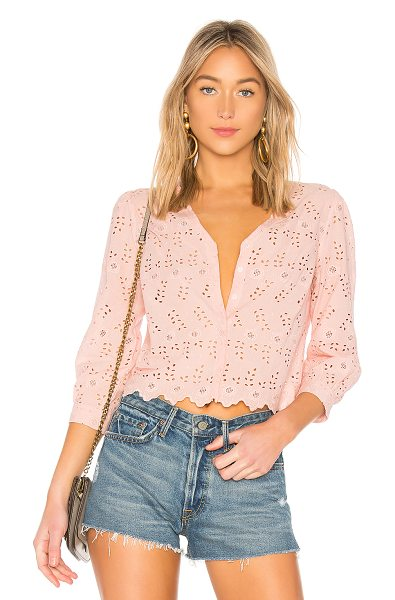 LoveShackFancy Valerie Top in pink - 100% cotton. Hand wash cold. Embroidered eyelet fabric....