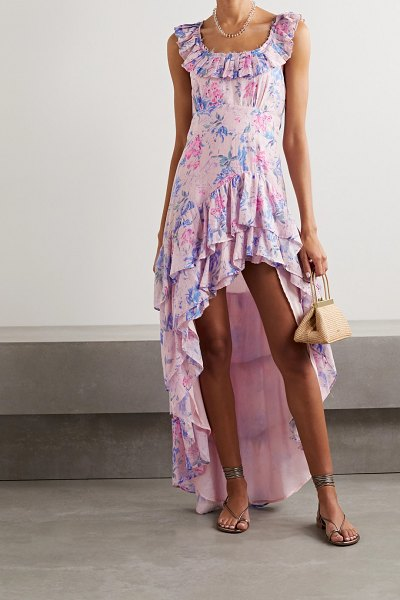LoveShackFancy winslow asymmetric ruffled floral-print cotton and silk-blend dress in pink
