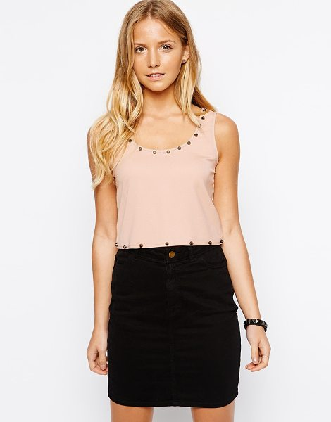 Lovestruck Marla crop cami with studs and strap detail in pink - Top by Lovestruck Lightweight, woven fabric Scoop...