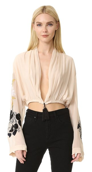 LOYD/FORD silk blouse in powder - Tasseled ties cinch the hem of this delicate silk...