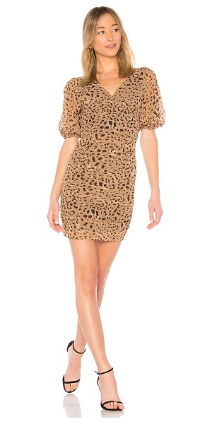 LPA Dress 694 in tan - Self & Lining: 100% poly. Hand wash cold. Fully lined....