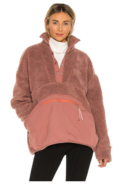 LPA snap front pullover in dusty rose