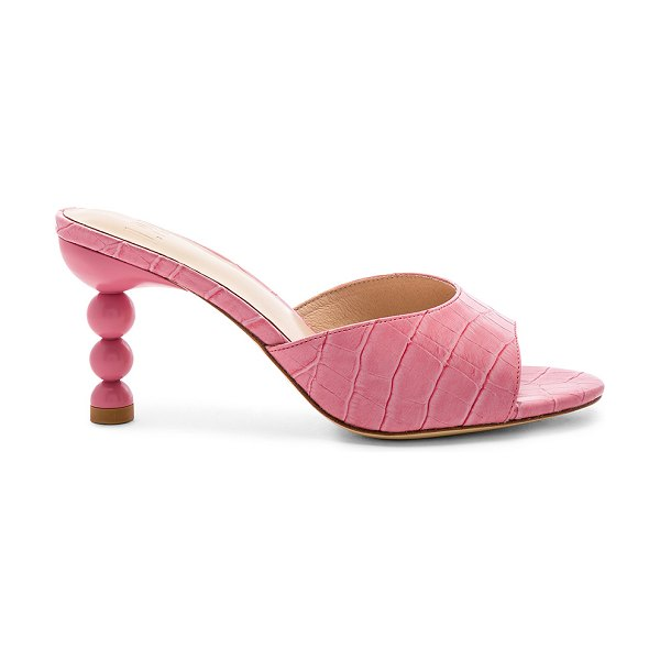 """LPA Sofi Heel in pink - """"Croc embossed leather upper with leather sole. Slip-on..."""
