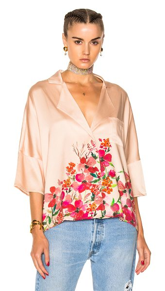 LPA Top 193 in floral,neutrals,pink - 93% silk 7% spandex.  Made in China.  Hand wash.  Button...