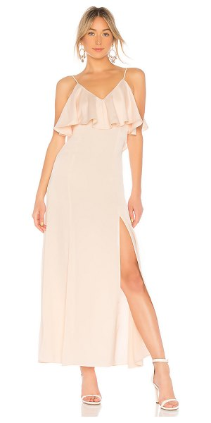 LPA V Neck Ruffle Gown in blush - 97% poly 3% spandex. Hand wash cold. Unlined. Flounce...