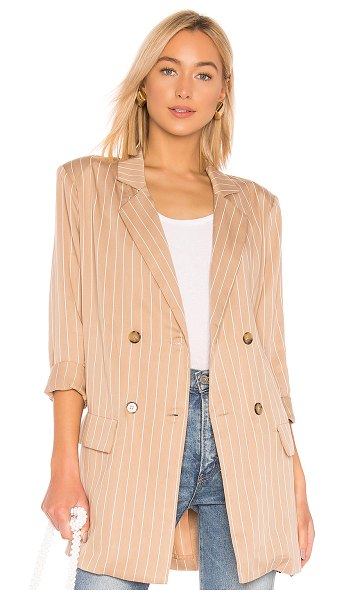 LPA Wrap Jacket in beige - 97% tencel 3% elastane. Hand wash cold. Front button...