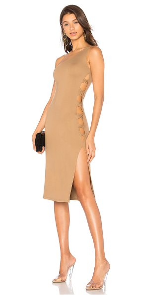 LPA x REVOLVE Dress 571 in brown - Single-shoulder necklines offer an edgy asymmetric shape...