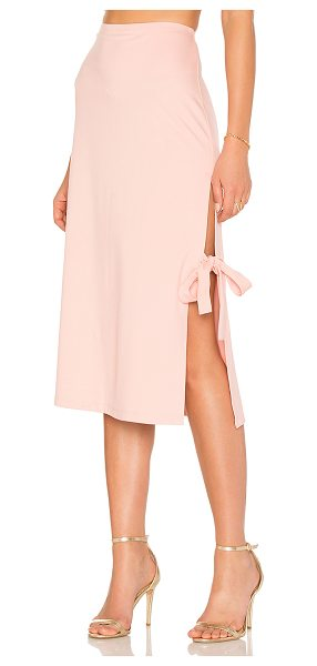 """LPA x REVOLVE Skirt 263 in blush - """"Mind your midi in the Skirt 263. Ponte fabric keeps the..."""