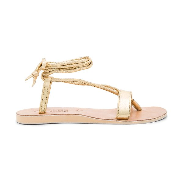 L*SPACE by Cocobelle Rio Sandals in metallic gold - Snake embossed leather upper with rubber sole. Wrap...