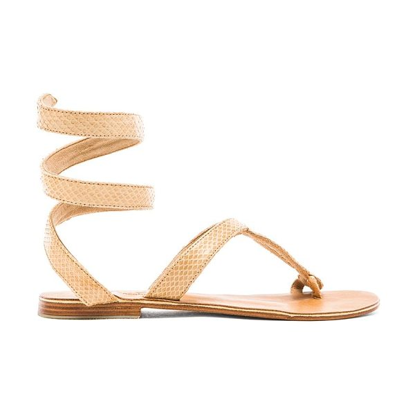 L*SPACE by Cocobelle Snake Wrap Sandal in tan - Snake embossed leather upper with leather sole. Coiled...