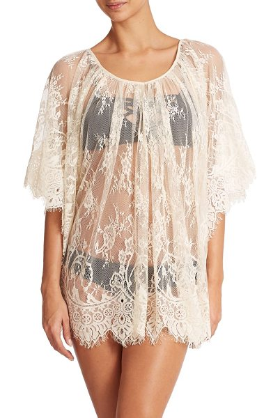 L*SPACE Geneva swim coverup in natural - Eyelash trim adds a whimsical effect to this sheer lace...
