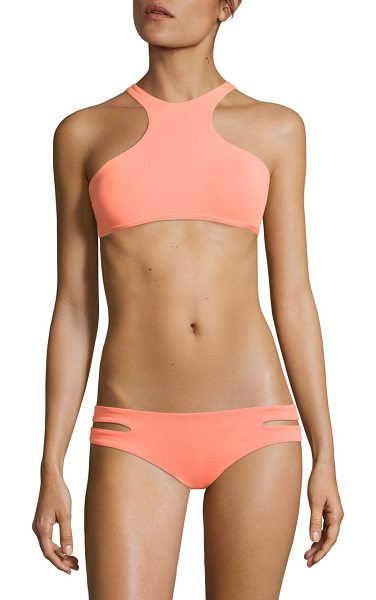 L*SPACE haute tank top bra in sorbet - High neck tank top bra with double-strapped X-back....