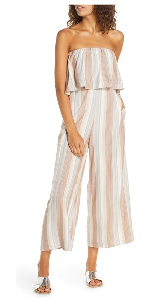 L*SPACE strapless cover-up jumpsuit in beige