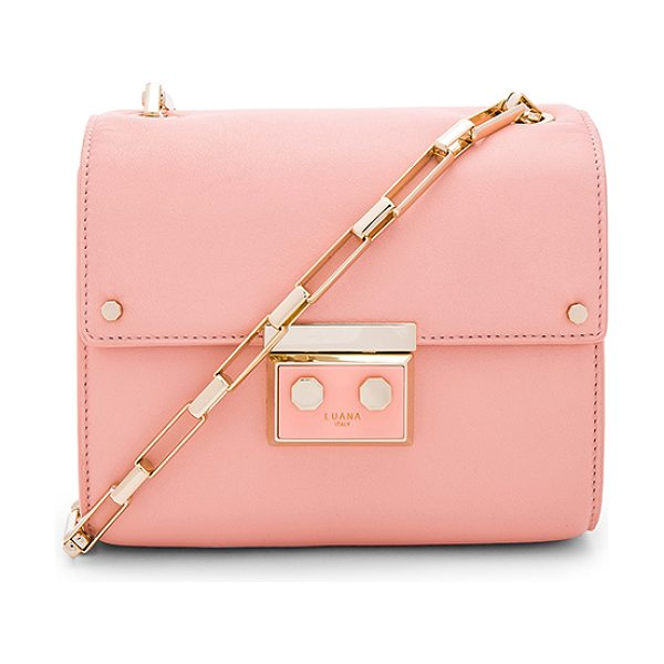 Luana Italy Anais Mini Shoulder Bag in pink - Leather exterior with nylon fabric lining. Flap top with...
