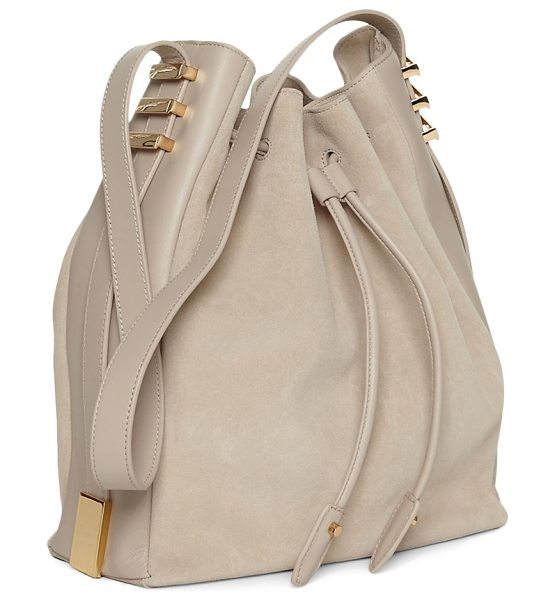 LUANA ITALY cecilia leather bucket bag in stone - Roomy bucket bag features striking goldtone accents. Top...