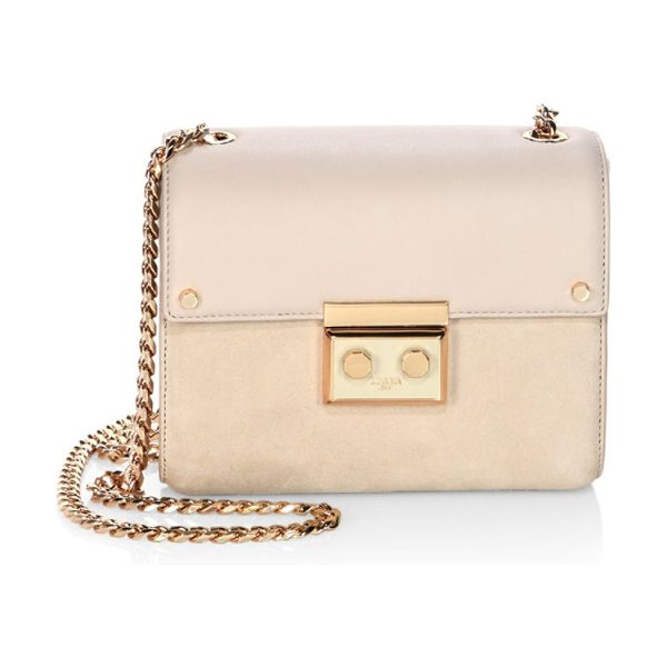 LUANA ITALY marella mini leather & suede chain shoulder bag in stone - Compact leather-suede design with blushing hardware....