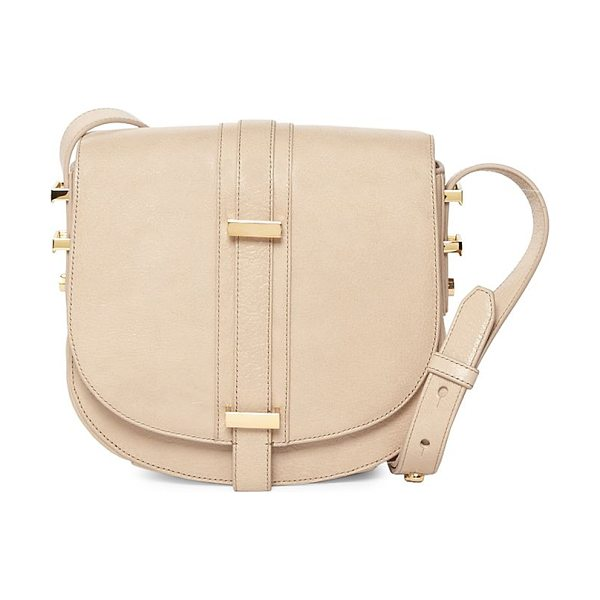 Luana Italy mariane crossbody leather saddle in stone - A crossbody saddle crafted from plush leather....
