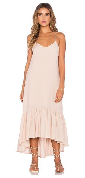 Lucca Couture Crepe voile ankle length flounce dress in peach - Poly blend. Dry clean only. Fully lined. Adjustable...