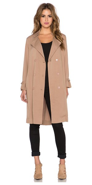 Lucca Couture Trench coat in tan - 100% rayon. Hand wash cold. Front double breasted button...