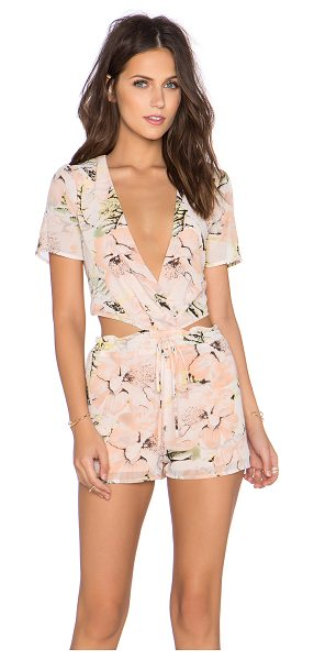 Lucca Couture x REVOLVE Deep V Open Back Romper in peach - Poly blend. Drawstring waist. Waist cut-out. LUCC-WR25....