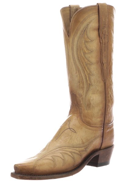 Lucchese Lily Western Knee Boots in beige