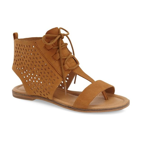 Lucky Brand baari sandal in brown sugar nubuck leather - Laser-cut detailing defines a chic sandal shaped from...