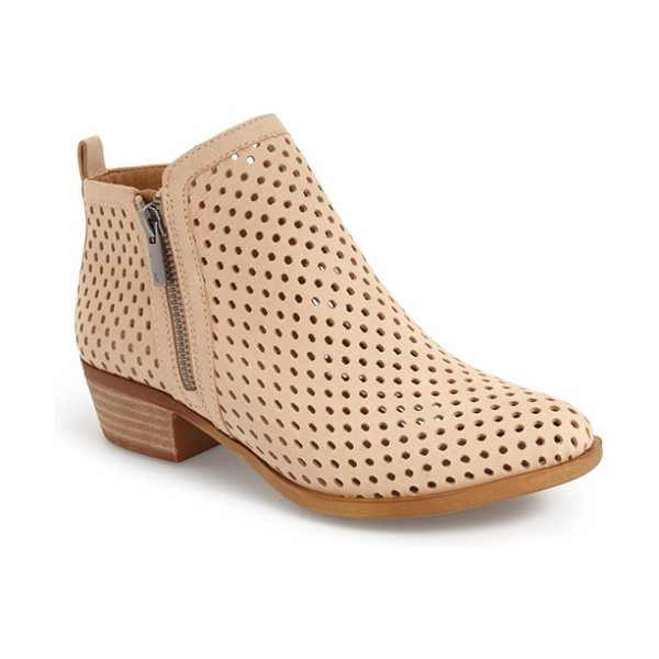 Lucky Brand 'basel' perforated bootie in bisque suede - A classic bootie goes modern with a perforated-leather...