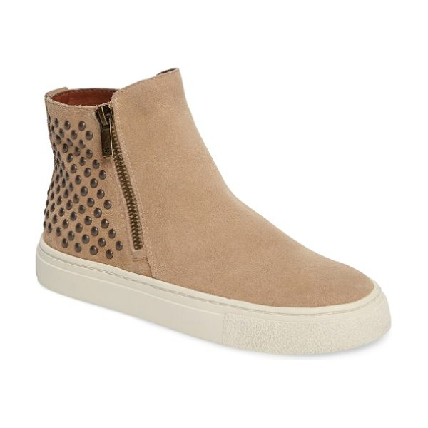 Lucky Brand bayleah high top sneaker in travertine suede - Dual side zips and polished metal studs lend instant...