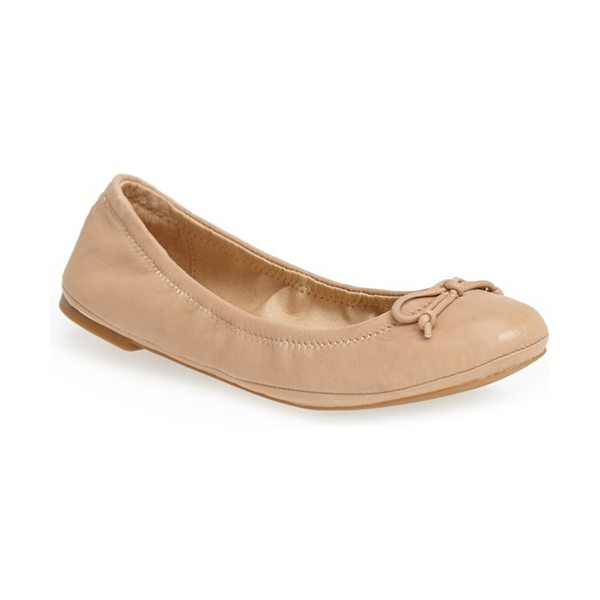 Lucky Brand eadda leather flat in nude - A classic flat is shaped with an elasticized topline for...
