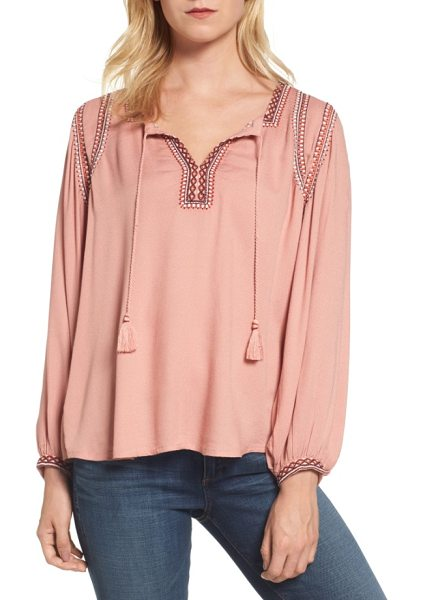 Lucky Brand embroidered boho blouse in misty rose - Vivid embroidery and tassel ties at the neckline make a...