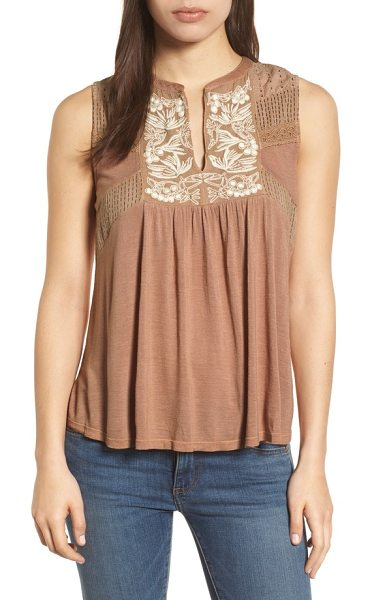 Lucky Brand embroidered shell in toffee blush - Airy eyelets and floral embroidery decorate the yoke of...