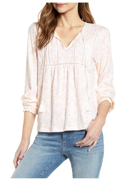 Lucky Brand faded floral tie neck peasant top in coral