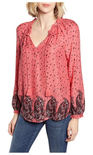Lucky Brand giselle ruffle detail peasant blouse in pink