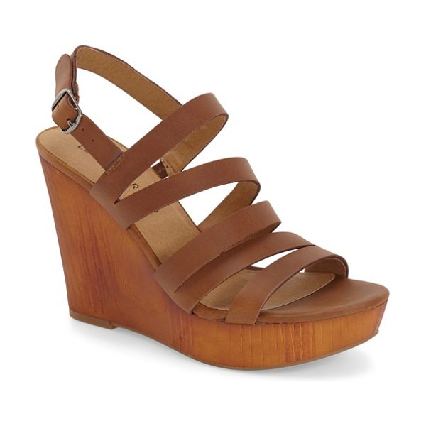 LUCKY BRAND larinaa wedge sandal - Slim, asymmetrical leather straps enhance a...