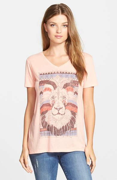 Lucky Brand lion graphic tee in blush coral - A V-neck tee offers fierce global style with a sketched...