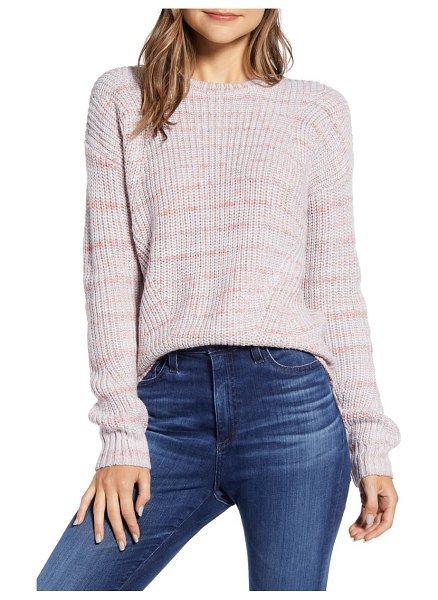 Lucky Brand lukcy brand marled crew neck sweater in pink