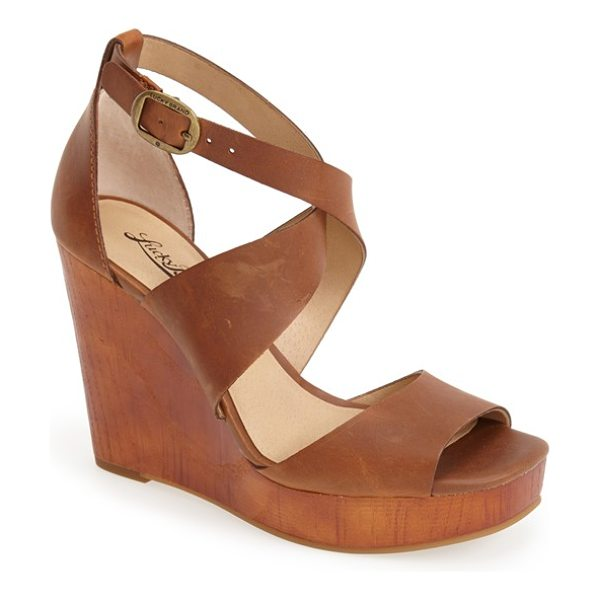 Lucky Brand lyndell leather wedge in almond - A substantial woodgrain platform and wedge define a...