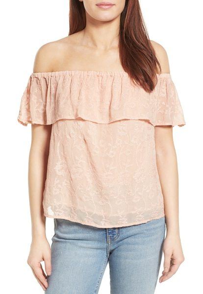 LUCKY BRAND off the shoulder top - Tonal embroidery throughout adds a pretty touch to an...